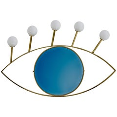 Mirror Lamp Blue Eye with Brass and Glossy Gold Finish, Handmade in Italy