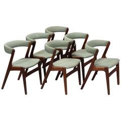 Six Teak Wood Dining Chairs