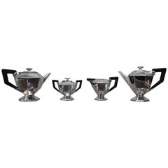 20th Century Art Deco Italian Silver Tea Set, 1920s
