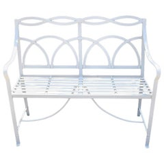 White Reeded Strapwork Regency Bench