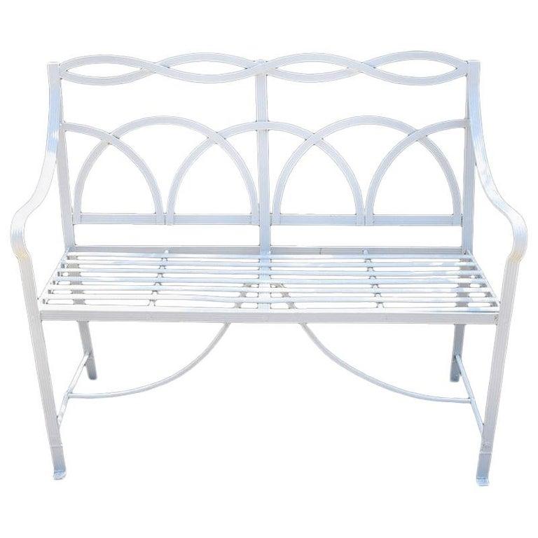 White Reeded Strapwork Regency Bench