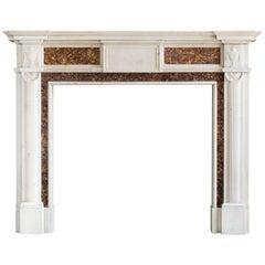Georgian Brocatello and Statuary Marble Fireplace