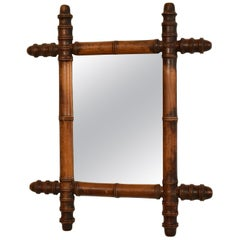 French 1940s Colonial Style Faux-Bamboo Mirror with Original Glass