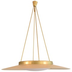 Huge 1950s Italian Ceiling Light in Lacquered Metal and Brass