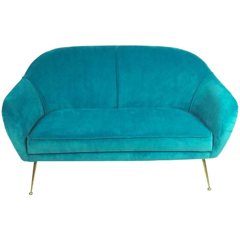 Mid-Century Modern Italian Turquoise Velvet Sofa, 1950s For Sale