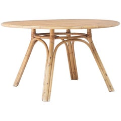 Vintage Bamboo Round Dining Room Table, Audoux-Minet Styled.