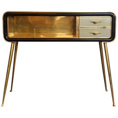 Mid-Century Modern Mahogany Wood, Green Glass with Brass Legs & Details Console