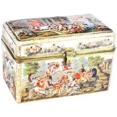 Antique Italian Large Capodimonte Porcelain Table Casket, 19th Century