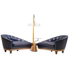 Blue Leather Aladino Sofa by Massimo Scolari for Giorgetti