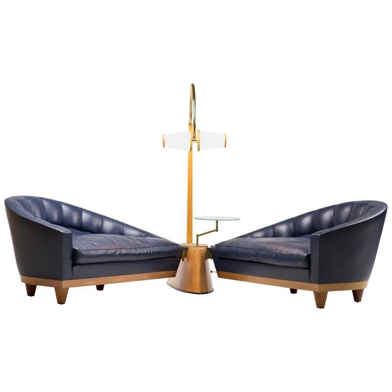 Blue Leather Aladino Sofa by Massimo Scolari for Giorgetti For Sale
