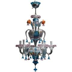 Mid-Century Italian Venetian Murano Glass Chandelier by Galliano Ferro