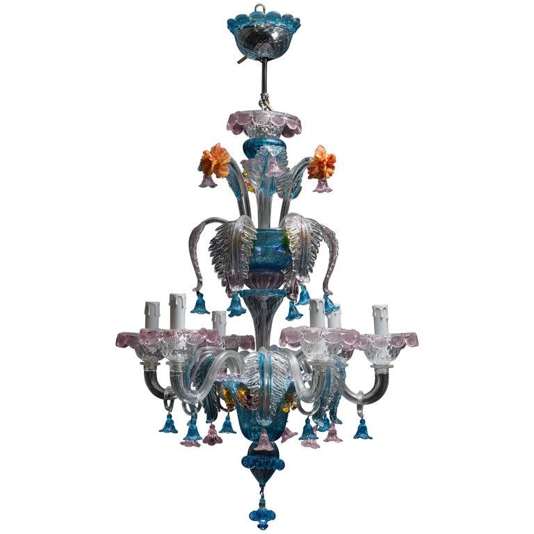 Midcentury Italian Venetian Murano Glass Chandelier by Galliano Ferro For Sale