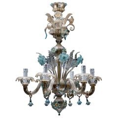 Midcentury Blue Italian Murano Glass Chandelier from Venetia by Galliano Ferro