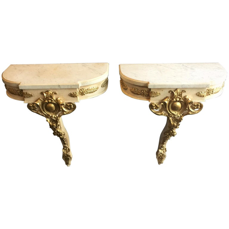 Pair of Painted Empire Style Console Tables or Nightstands
