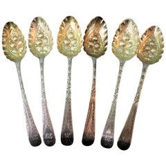 18th Century Various Makers London Silver Rococo Engraved Spoons, 1770s