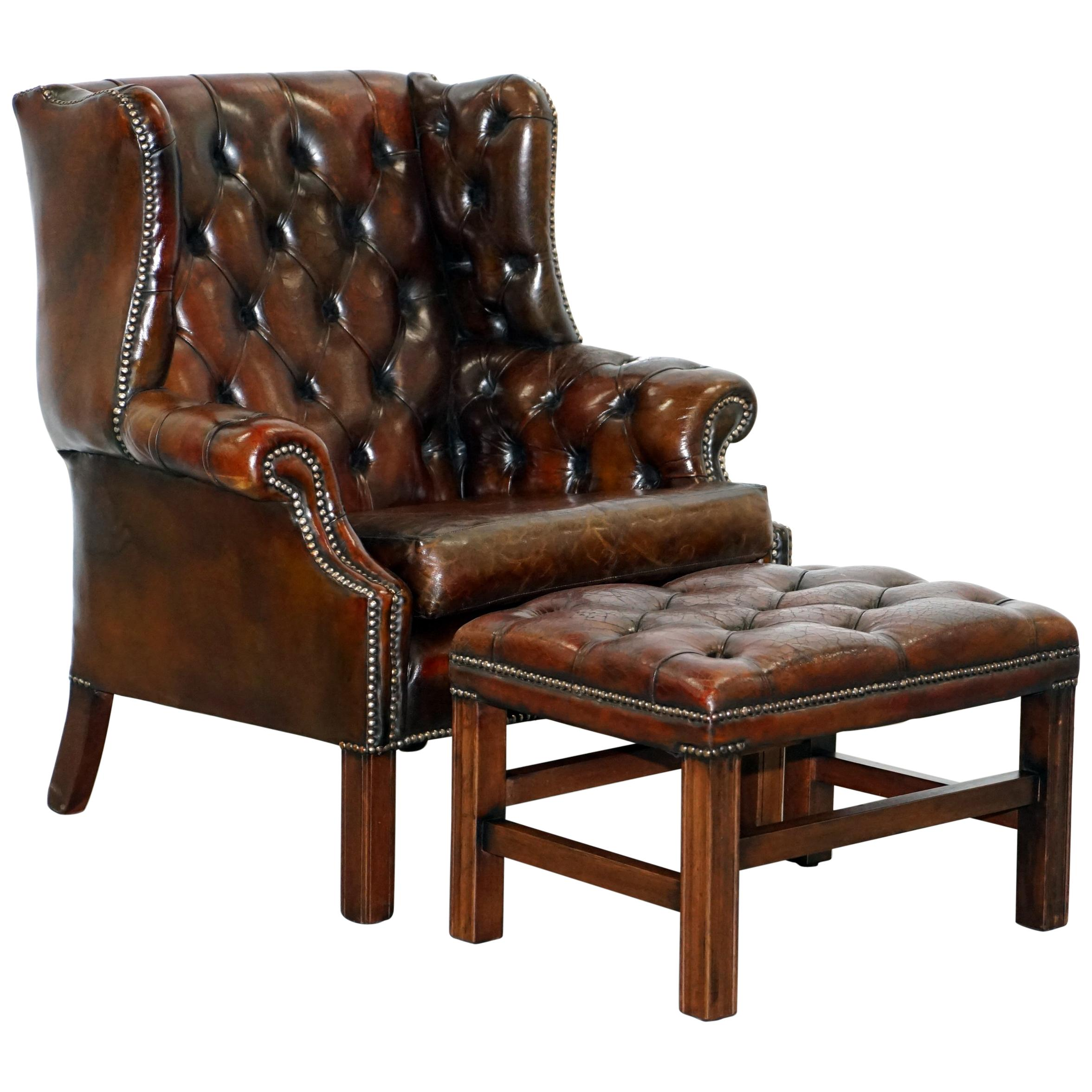 Restored Vintage Handmade In England Chesterfield Wingback Armchair U0026  Footstool