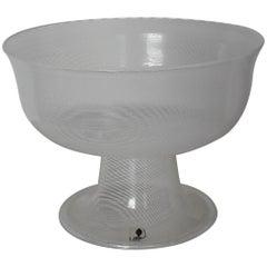 Venini Blown Filigree White Glass Wedding Vase, 1981