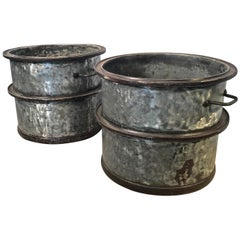Four Pairs of Large Heavy French Polished Galvanized Steel Tub Planters
