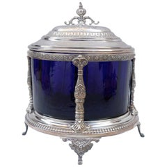Blue Glass Bonbonniere Mounted in Silvered Metal, Napoleon III Period