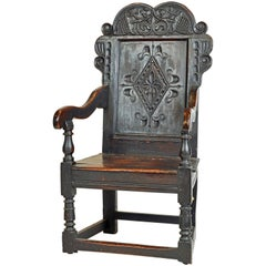 17th Century Richly Carved Elizabethan Joined Oak Wainscot Style Chair