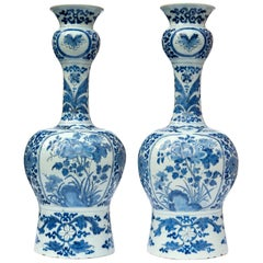 Pair of Knobbel Vases in Blue and White Dutch Delftware
