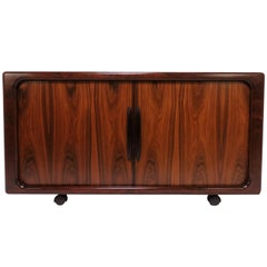 Danish Rosewood Tamboured Door Media Cabinet by Dyrlund