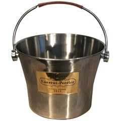 "Large ""Laurent Perrier"" Champagne Cooler with Inscribed Leather-Covered Handle"