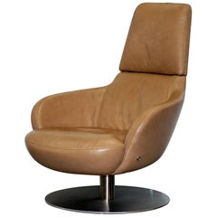 Rare Made in Italy Natuzzi Brend Swivel Armchair, Aged Brown Leather