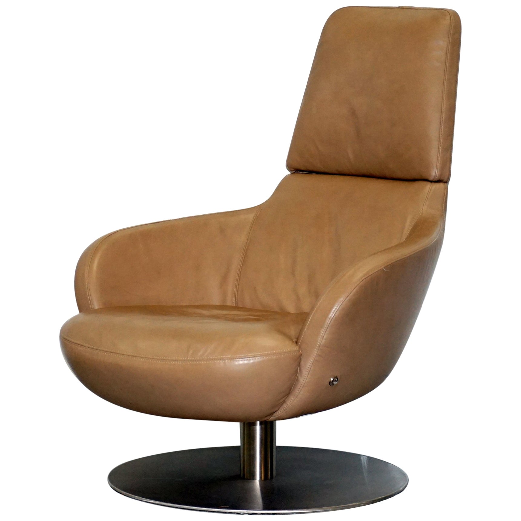 Rare Made In Italy Natuzzi Brend Swivel Armchair Aged Brown Leather