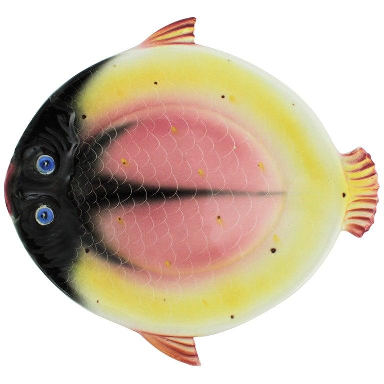 1950s Italian Colorful Pink & Yellow Glazed Ceramic Sole Fish Plate / Vide-Poche