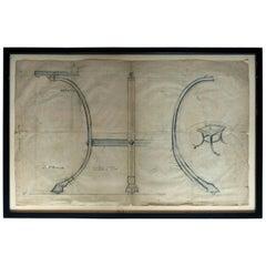 Large Framed Archival Design for a Table; Maison Paul Fargette & Maison Charles