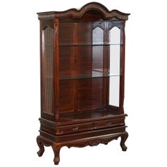 Solid Mahogany with New Glass Shelves Ornately Carved Wood Display Cabinet