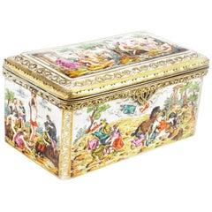 Antique Italian Capodimonte Large Porcelain Table Casket, 19th Century
