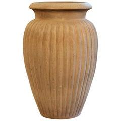 Large Matt Brown Art Deco Peters and Reed Lobed Pottery Floor Jar Urn Vase