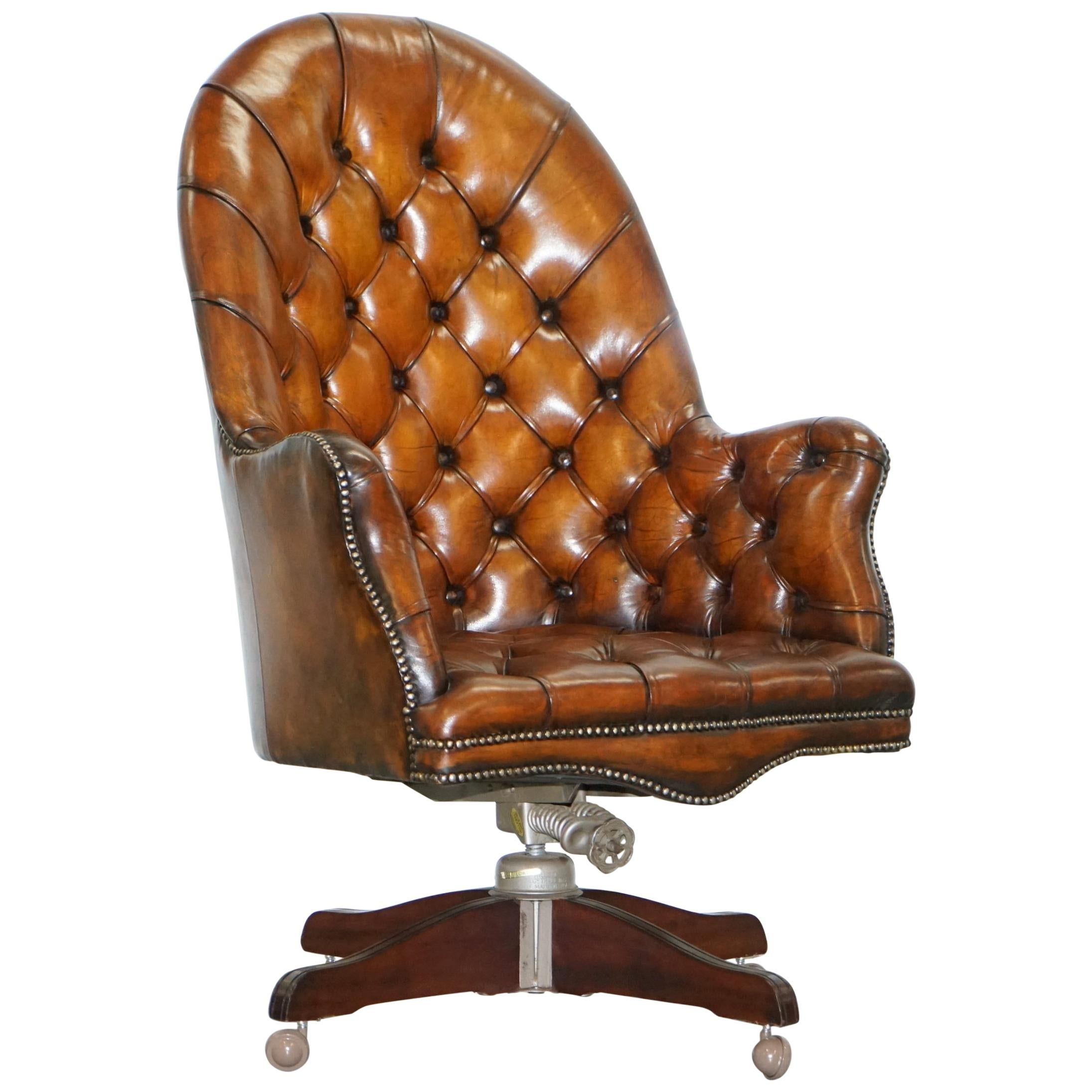 Restored 1900 Chesterfield Porters Back Brown Leather Directors Captains  Chair