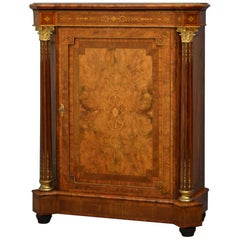 Victorian Burr and Figured Walnut Pier Cabinet