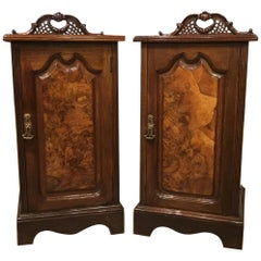Good Pair of Burr Walnut and Walnut Late Victorian Period Bedside Cabinets