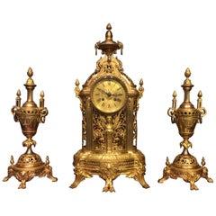 Beautiful Late 19th Century French Ormolu Clock Garniture