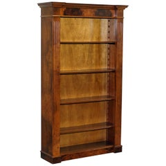 Empire Style Burr Walnut Library Breakfront Bookcase Height Adjustable Shelves