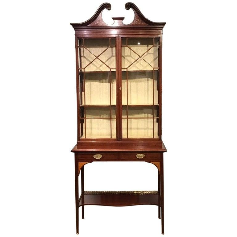 Fine Quality Mahogany Inlaid Edwardian Period Display Cabinet