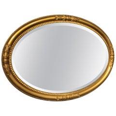 Oval Edwardian Period Regency Style Gilt Mirror