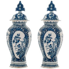 Pair of Blue and White Vases with Lid in Dutch Delftware