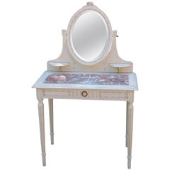 Antique or Vintage French Marble Top Vanity Table Beveled Mirror Country Painted