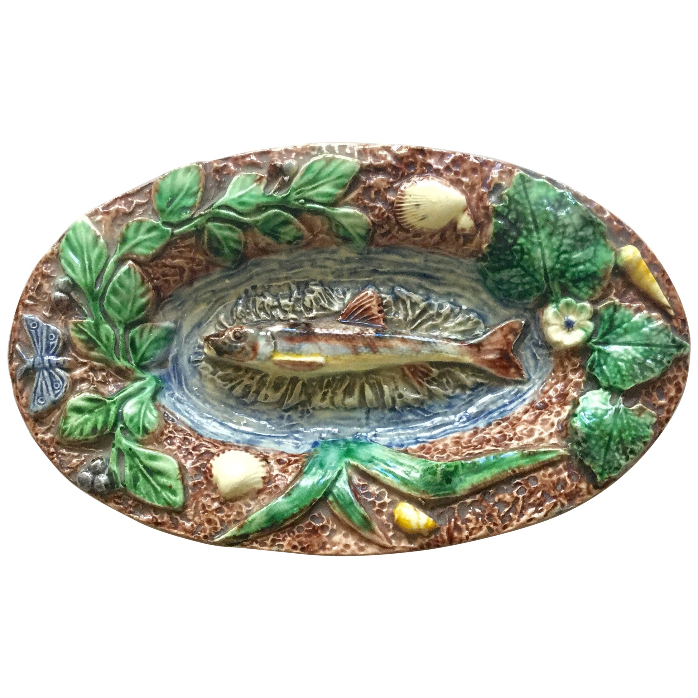 19th Century Majolica Palissy Fish Wall Platter Thomas Sergent