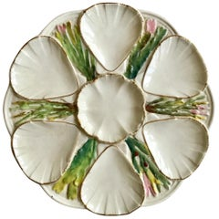 White English Majolica Oyster Plate, circa 1880