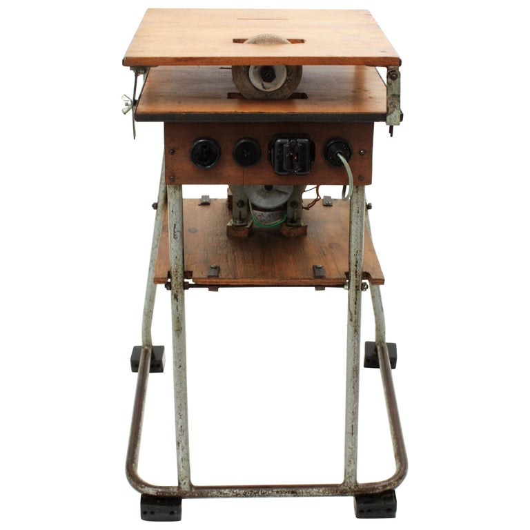 Mid-20th Century Craftsman Industrial Table Saw as Side Table, Spain 1940s For Sale