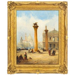 Antique Oil Painting The Columns of St. Marks Square J.Vivian, 19th Century