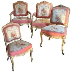 Living Room Set of Two Chairs and Two Armchairs, Aubusson Tapestry, France