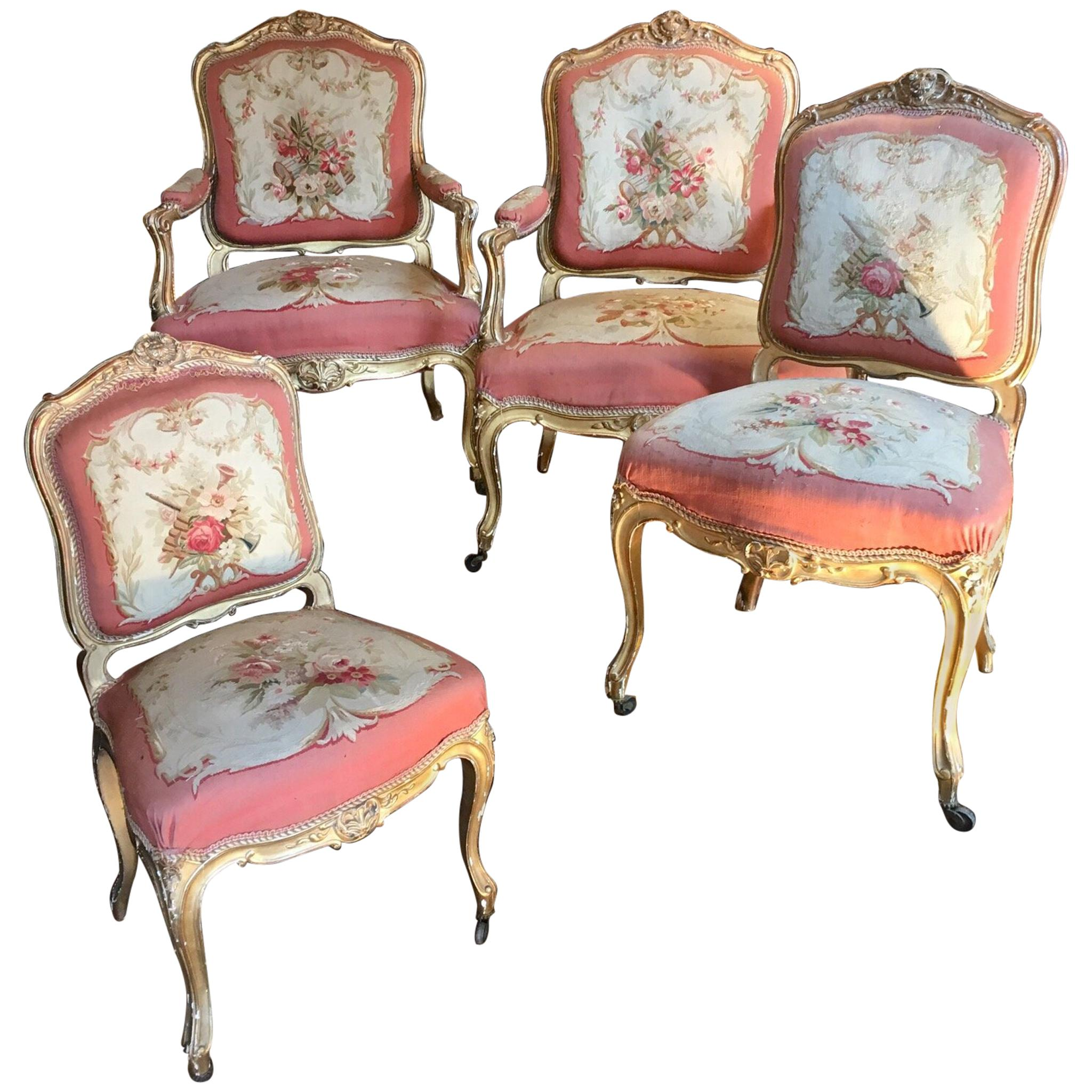 Living Room Set Of Two Chairs And Two Armchairs, Aubusson Tapestry, France  For Sale