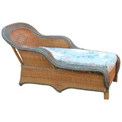 Vintage Palecek Bamboo Rattan Wicker Porch Patio Room Chaise Lounge Settee Chair